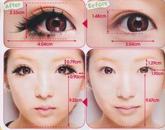 How Gyaru makeup changes the proportions of the face.