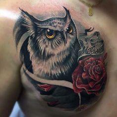 Owl and Rose Chest Tattoo! Animal Tattoos, Owl Tattoos, Mens Owl Tattoo, Rose Chest Tattoo, Owl Bird, Tattoos For Guys, Tatting, Body Art, Dog Cat