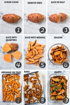The step by step process for the Easy Sweet Potato Meal Prep that show how to make sweet potato fries. meal prep recipes clean eating healthy food Sweet Potato Meal Prep - Baked Sweet Potato Fries 4 Ways Sweet Potato Recipes Healthy, Healthy Snacks, Healthy Meal Recipes, Eating Healthy, Meal Prep Recipes, Dinner Recipes, Healthy Drinks, Healthy Dishes, How To Cook Sweet Potato