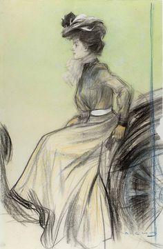 "ARTIST: Ramon Casas i Carbó (Catalan-Spanish, ~ ""Chauffeuse"" (pastel sobre paper) Spanish Painters, Spanish Artists, Fine Art Drawing, Art Drawings, Figure Drawings, Ramones, Belle Epoque, Art Nouveau Furniture, Modernisme"