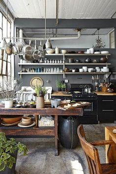 Industrial decor style is perfect for any interior. An industrial kitchen is… Industrial Kitchen Design, Industrial House, Interior Design Kitchen, Industrial Style, Industrial Shelving, Industrial Bedroom, Industrial Farmhouse, Vintage Industrial, Industrial Office