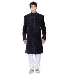 Embroidered Long from By at Wedding Sherwani, Indian Ethnic, High Neck Dress, Study, Velvet, Coat, Black, Dresses, Fashion