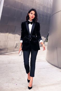 Borrowed From The Boys - @jcrew velvet tuxedo jacket & @ysl velvet bow tie