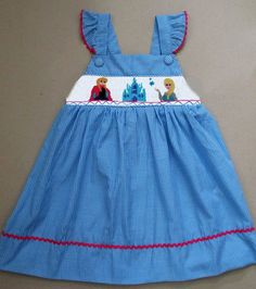 Smocked and Sassy Boutique Frozen (Anna, Elsa) Smocked Flutter Dress NEW 12m-8