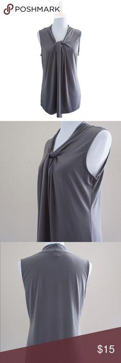 Banana Republic Gray v neckline sleeveless top L Pre-owned, Lycra and polyester blend , v twirled neckline, Sleeveless, size L. Banana Republic Tops Blouses