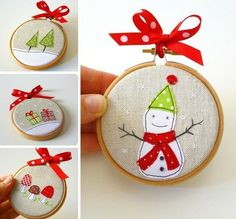 Handmade Christmas scenes   this isn't the original source, so no instructions. But it looks like felt & embroidery on burlap, maybe? Some fabric paint pens, too. Framed in small embroidery hoops, decorated with ribbon.