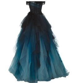 Shop Off the Shoulder Ball Gown. This **Marchesa** gown features an off the shoulder neckline, a fitted bodice, and a full skirt. Off Shoulder Evening Gown, Off Shoulder Ball Gown, Off Shoulder Dresses, Shoulder Tops, Blue Ball Gowns, Blue Evening Dresses, Ball Gown Dresses, Blue Gown, Marchesa Fashion