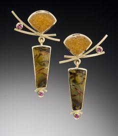 Kimono Earrings: Ilene Schwartz: Gold & Stone Earrings | Artful Home