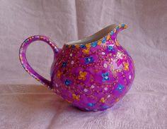 Pot-au-Lait Bohème en Porcelaine, violet, jaune, bleu : Objet Déco Bohème