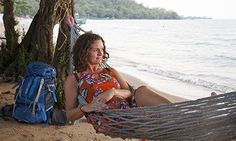 Susan Smillie relaxing in a hammock on Rabbit Island, Cambodia. Photograph: Lisa Vander Meulen. Click on the magnifying glass icon for a lan...