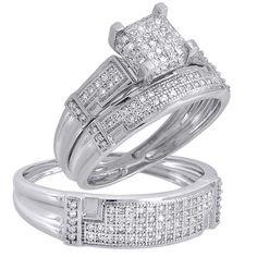 14K White Gold Diamond His & Her Trio Set Matching Engagement Ring Wedding Band #affordablebridaljewelry