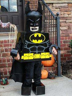 """The finished lego batman costume. I ran out of time, but would like to revisit the helmet. My little Maddox loved it and was the talk of the """"trunk or treat"""" last night"""
