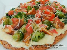 Broccoli and Chicken Alfredo Pizza with Spinach and Tomatoes
