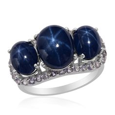 Liquidation Channel: Thai Blue Star Sapphire and Tanzanite Ring in Platinum Overlay Sterling Silver (Nickel Free)