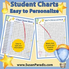 Today's post contains two versions of a student challenge chart, including one that you can personalize with your students' names.