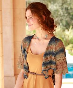 Bolero in Lace Pattern, S9046 - Free Pattern.  This beautiful summer jacket by Brooke Nico in Schachenmayr Tahiti can be combined with every type of garment for many uses throughout the season.