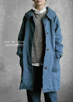 【楽天市場】【送料無料】Joie de Vivreリネン和紙インディゴ染めステンカラーコート:BerryStyleベリースタイル