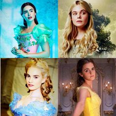 "The live action Disney Princesses ""Mirror Mirror"" (2012), ""Maleficent"" (2014), ""Cinderella"" (2015) and ""Beauty and the Beast"" (2017). Lily Collins, Elle Fanning, Lily James and Emma Watson."