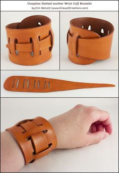 Adjustable claspless slotted leather wrist cuff bracelet, by Erin 'Eirewolf' Metcalf. Fits a range of wrist sizes!  www.EirewolfCreations.com