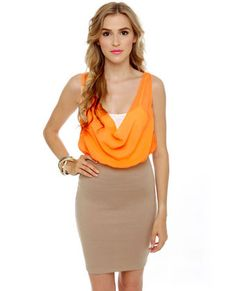Triple Threat Orange and Taupe Dress - love the drape and sheer combo