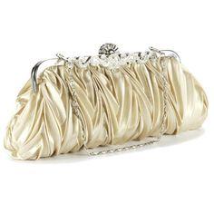 Crystals kiss lock satin pleated evening wedding prom bridal clutch lady handbag