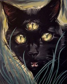 3 Eyed black cat original oil painting by Diane Irvine Armitage, 8 x 10 inches.