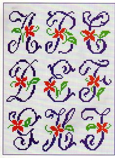 Thrilling Designing Your Own Cross Stitch Embroidery Patterns Ideas. Exhilarating Designing Your Own Cross Stitch Embroidery Patterns Ideas. Cross Stitch Alphabet Patterns, Embroidery Alphabet, Cross Stitch Letters, Embroidery Monogram, Cross Stitch Designs, Embroidery Patterns, Stitch Patterns, Cross Stitching, Cross Stitch Embroidery