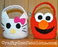 Hello Kitty and Elmo Basket Free Crochet Pattern: Crafty Confessions