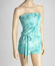 Take a look at this Sea Green Tie-Dye Romper by India Boutique on #zulily today!