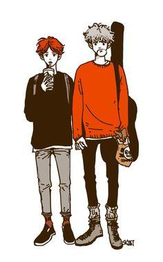 Text Me/Baekyeol - oku - Wattpad Chanbaek Fanart, Fanart Bts, Exo Chanbaek, Pretty Art, Cute Art, Exo Couple, Exo Fan Art, Fanarts Anime, Manga Boy