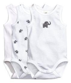 3er-Pack ärmellose Bodys | Weiß/Elefant | Kids | H&M DE