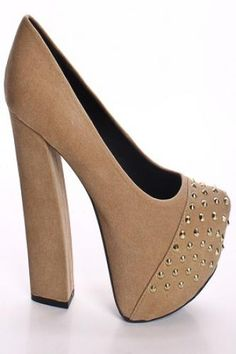 TAUPE FAUX SUEDE SPIKE STUDS CHUNKY HEEL