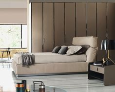 Gentleman bed by Flou is upholstered and available with storage base. Modern Italian furniture in Philadelphia, PA. Concrete Furniture, Bed Furniture, Double Bed Designs, Modern Platform Bed, Platform Beds, Italian Furniture, Bed Storage, Bedroom Bed, Double Beds