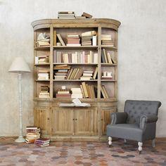 Biblioth que en bois recycl ivoire l flaubert - Bibliotheque maison du monde ...