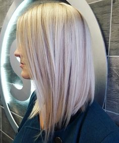 Lob, long, bob, platinum blonde, icy blonde, lowlights, aloxxi