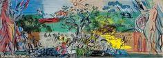 Projet pour la tapisserie Le Bel été - Réfugié dans le sud de la France au début des années 1940, les contacts de Dufy avec Aubusson se nouent grâce à Lurçat rencontré à Perpignan et à la collectionneuse Marie Cuttoli, qui souhaitait relancer l'art de la tapisserie à partir de tableaux de grands peintres. Il réalise les tapisseries Bel Eté (collection du musée du Havre) et Collioure, tissées par l'atelier Tabard. C'est pour lui l'occasion d'expérimenter la méthode du carton numéroté…