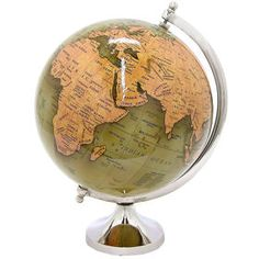 Enhance your decor by featuring this handsome THREE HANDS globe in your home or office. The base has a nickel finish gives this globe a contemporary look. The neutral tones of the globe give this a transitional and elegant look to this decorative pie At Home Store, Neutral Tones, Nickel Finish, Polished Nickel, Accent Pieces, Decorative Accessories, Third, Base, Sculpture