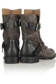 Fiorentini & Baker|Eternity suede biker boots|NET-A-PORTER.COM