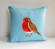 Hand Embroidered Robin Cushion by Pixiecraft Handmade, via Flickr Robin Redbreast, Christmas Table Cloth, Embroidered Bird, Robin Bird, Christmas Makes, Robins, Needle Felting, Projects To Try, Cushions