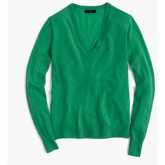 J.Crew Italian Featherweight Cashmere Classic V-Neck Sweater ($160) ❤ liked on Polyvore featuring tops, sweaters, j crew sweaters, cashmere top, green sweater, j crew tops and v neck tops