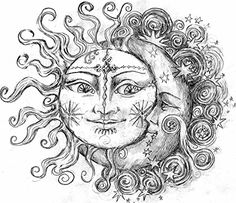 "warm sun and cool moon in color with the quote spiraled around, ""The sun loved the moon so much; he died every night just to let her breath."""