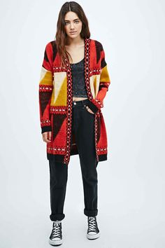Staring at Stars Brushed Abstract Cardigan in Red and Yellow