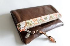 Adorable Leather fold over clutch