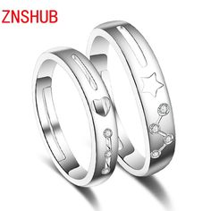 Simple Fashion Sterling Silver Couple Ring Exquisite Super Flash Engagement Wedding Rings For Men And Women Jewelry Wholesale