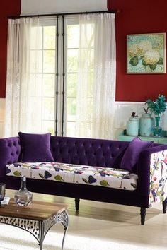 Purple Flower Upholstered Sofa