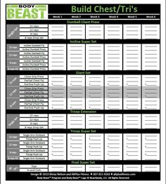 The new and improved Body Beast workout sheets track your progress for EVERY session of each workout on one page and allow you to see your progress horizontally week by week.: