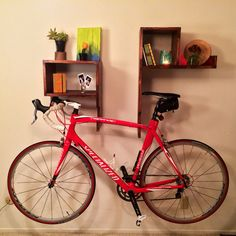 SALE // Modern Wood Bike Rack on Wall with Shelves and Cubby Handmade Unique on Etsy, 223,98 €