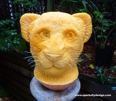 Lion cub carving for Telus valued customers