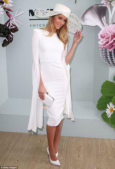 White on! Jennifer Hawkins stunned in an Alex Perry dress and Ann Shoebridge hat as she ar...