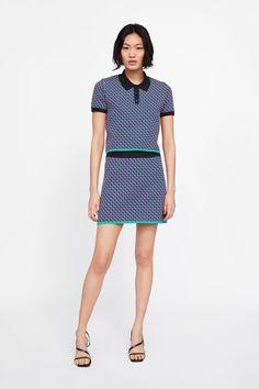 ZARA - Female - Geometric knit jacquard polo sweater - Multicolored - S Polo Sweater, Polo Shirt Women, Zara United States, Zara Women, Fashion Killa, Everyday Fashion, Latest Trends, Short Sleeve Dresses, Shopping